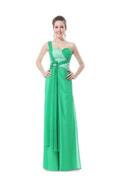 Green One Shoulder Sequined Bust Diamante Evening Dress