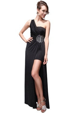 Black One Shoulder Beading Dress With Overskirt