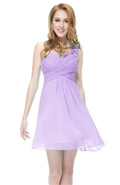 Floral One Shoulder Bandaged Lavender Bridesmaids Dress