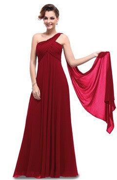 Crimson A Line One Shoulder Long Party Dress