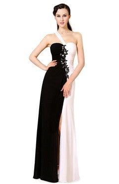 Applique Black & White Asymmetrical Strap Slit Formal Dress