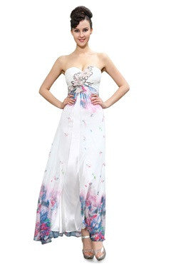 Floral Pattern Painted Sweetheart Homecoming Dress