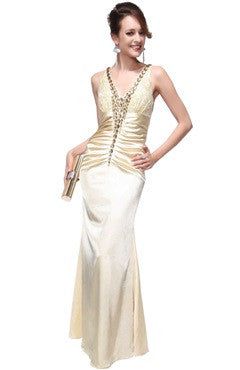 Jeweled V-Neck Ruched Waistband Prom Dress