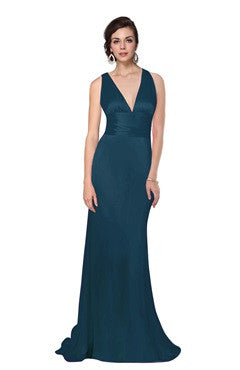 Plunge Cross Back Sleek Trained Evening Dress, Dark Teal