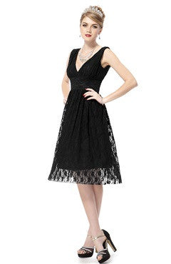 Black Illusion Lace V-Neck Sleeveless Cocktail Dress