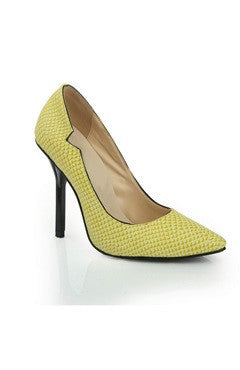 Yellow Leather Point Toe Heeled Shoes With Side Cutout
