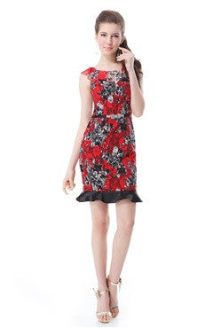 Red Cap Sleeve Lace Floral Print Belted Sheath Dress