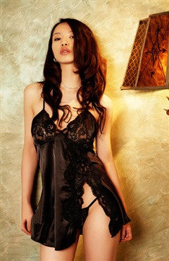 Black Babydoll Sets Satin Sexy Lingeries