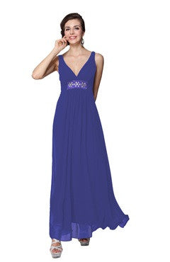 Sapphire Blue V Neck Rhinestones Decorated Waist Long Party Dress