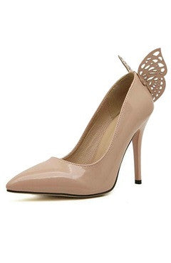 Contrast Butterfly Detailed Nude Patent Leather High Heels