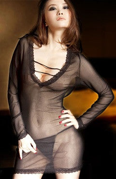 Sets Chemise/Slip Black Sexy Lingeries