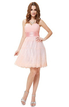Pink Strapless Sweetheart Ruched Homecoming Dress