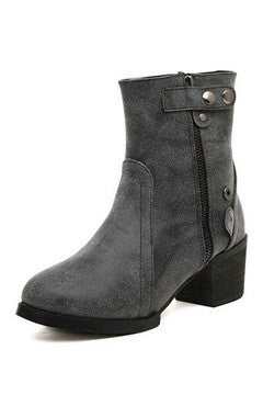 Greyish-Blue PU Side Zipped Short Boots