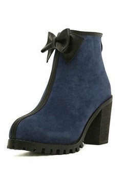 Blue Ankle Bow Back Zipped Chunky Heels Short Boots
