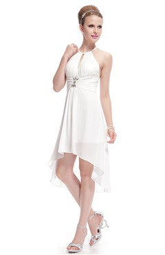 White Halter Cross Back Rhinestones High-Low Party Dress