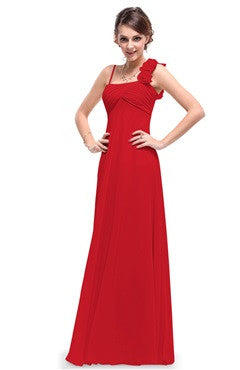Red Rosettes Shoulder Strap Ruched Bust Long Dress