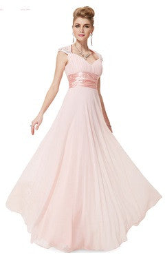 Pink Sequined V Neck Back Cutout Chiffon Trailing Dress