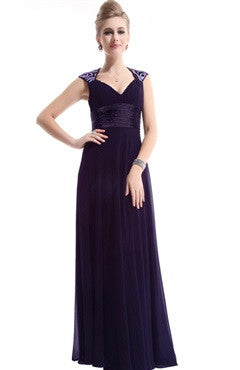 Queen Anne Neck Back Cutout Formal Dress, Dark Purple