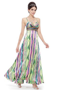 Spaghetti Straps Stripe Print Chiffon Dress With Beading Waistband