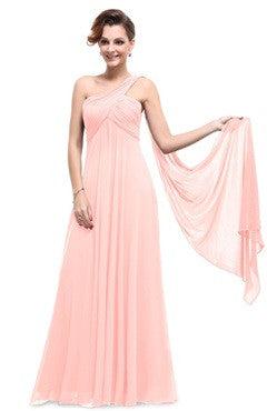Pink One Shoulder Ruched Padded Bust Streamer Evening Dress