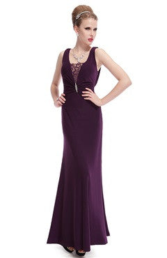 Soft Mermaid Cowl Back Evening Dress With Lace Insert