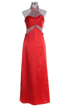 Beaded Mock Neck Satin Evening Dress In Red