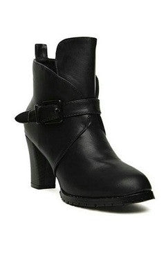 Black Buckle Straps Rough Heels PU Boots