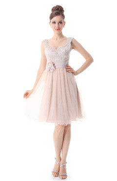 Blush Scoop Back Tulle Skirted Dress With Corsage Detail
