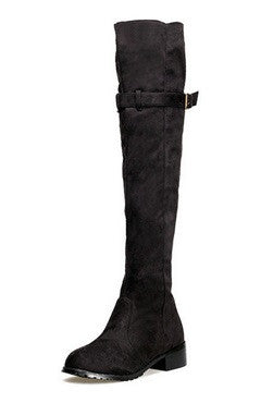 Black Spandex Surface Knee-Length Boots