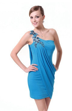 Blue One Shoulder High Stretch Rhinestones Ruffled Cocktail Dress