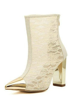 White And Golden Pointed PU And Lace High Heels