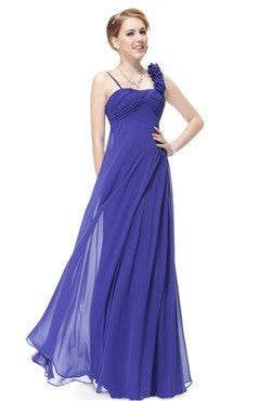 Sapphire Blue Rosettes Shoulder Strap Ruched Bust Evening Dress