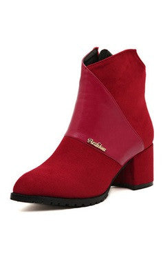 Red Ankle Boots in Suede