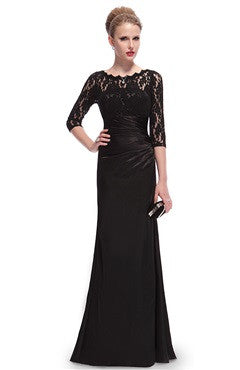 Full Figure Lace Illusion Floor Length Dress