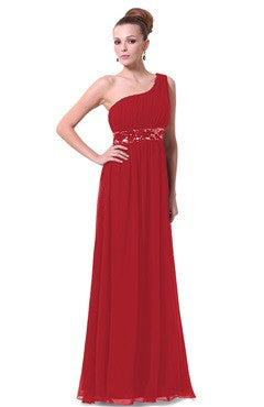One Shoulder Pleated Top Sequin Waist Evening Dress, Red