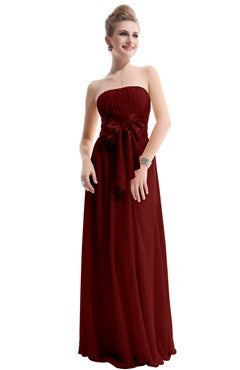 Burgandy Strapless Ruched Bust Chiffon Dress With Bow Sash