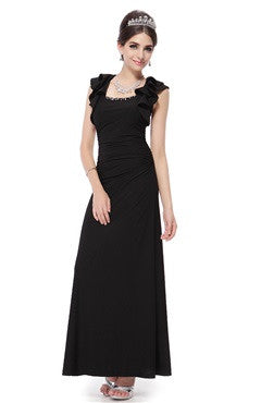 Black Flutter Sleeve Ruched Waist Long Party Dress