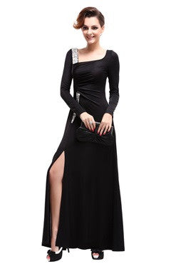 Black Sequins Long Sleeves Ruching Slit Party Dress