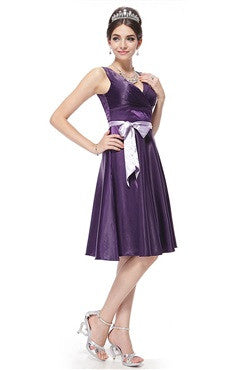Double V-Neck Belt Bow Purple Knee Length Cocktail Dress