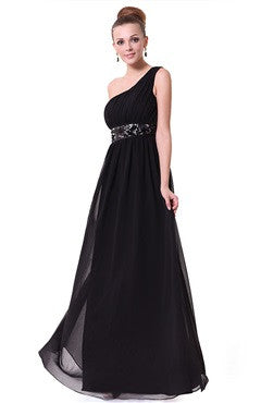 One Shoulder Pleated Top Sequin Waist Evening Dress, Black