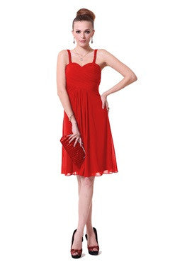 Spaghetti Straps Shirred Bust Sweetheart Red Cocktail Dress