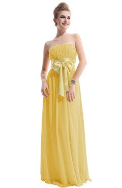 Yellow Strapless Satin Ribbon Bow Detailed Evening Dress