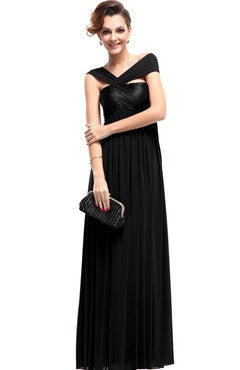 Black Halter Ruched Bust Floor-Length Dress