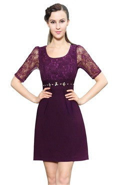 Burgandy Half Sleeve Lace Sheath Dress With Beading Waistband