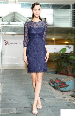Blue Lace Half Sleeve Keyhole Back Sheath Dress