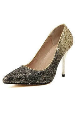 Faded Gold Glitter Pointed High Heels