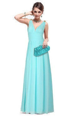 Light Blue Plunge V Neck Low Cut Back Evening Dress