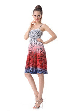 Spaghetti Straps Printing Shirring Bust Homecoming Dress