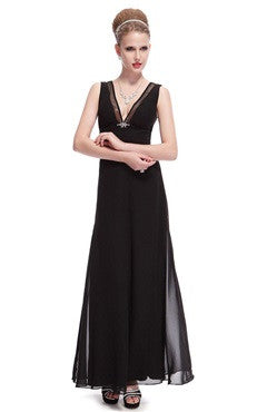 Sexy Black Deep V-Neck Maxi Chiffon Evening Dress