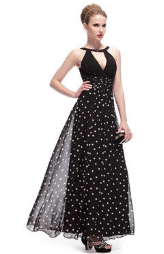 Double V Neck Polka Dotted Empire Waist Cocktail Dress